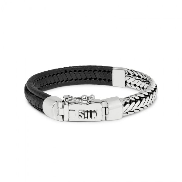 193BLK bracelet silver & leather black ZIPP